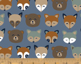 Cubby Bear FLANNEL - Forest Animals Blue by Whistler Studios from Windham Fabrics