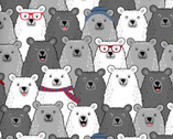 Cubby Bear FLANNEL - Happy Bears Grey by Whistler Studios from Windham Fabrics
