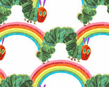 The Very Hungry Caterpillar Bright- Rainbow Caterpillars White by Eric Carle from Andover Fabrics