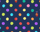 The Very Hungry Caterpillar Bright - Dots Dark Blue by Eric Carle from Andover Fabrics