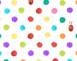 The Very Hungry Caterpillar Bright - Dots White by Eric Carle from Andover Fabrics