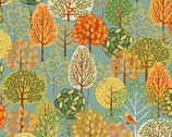 Forest - Trees Teal from Makower UK Fabric