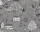 Grove - Grove Scenic Dark Grey from Makower UK Fabric
