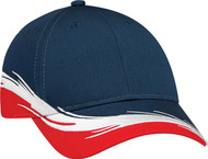 Red/Navy Poly/Cotton Constructed Full-Fit Flare Cap