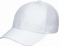 White Polycotton/Polyester Honeycomb Mesh Constructed Contour Cap