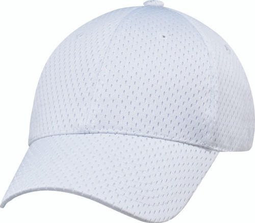 White Jersey Mesh Constructed Full-Fit Cap