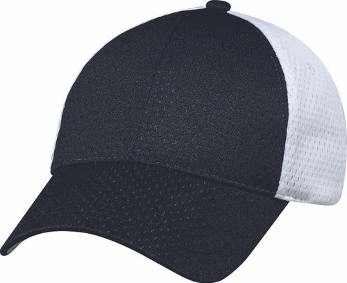 Black/White Jersey Mesh Constructed Full-Fit Cap