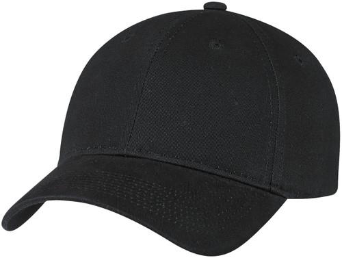 Black Brushed Cotton Drill Constructed Full-Fit Cap