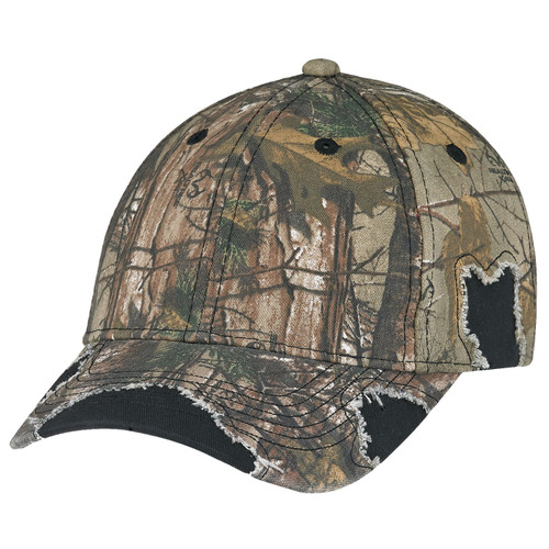 Black/Realtree Xtra® -6Y193M Enzyme Washed Twill/Brushed Polycotton Camouflage Distressed Cap   Hats&Caps.ca