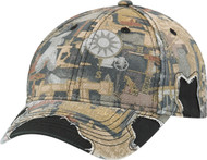 Distressed Enzyme Washed Deluxe Chino Twill/Polycotton Oilfield Camouflage Constructed Contour Cap