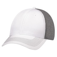White/Charcoal - 4K867M Polycotton / Polyester Heather & Spandex Cap | Hats&Caps.ca