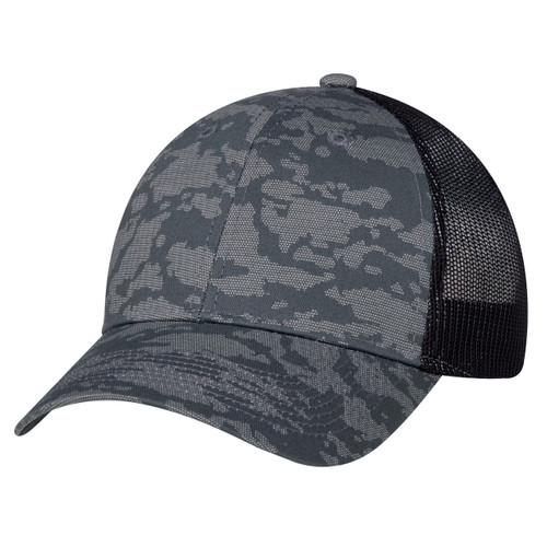 Charcoal/Washed Black - 3H647M 6 Panel Constructed Full-Fit (Urban Camo, Mesh Back)   Hats&Caps.ca