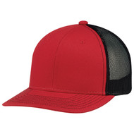 Red/Black - 8E019M Deluxe Chino Twill/ Nylon Mesh Cap | BlankClothing.ca