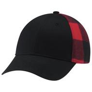 Black/Red - 5Q637M 6 Panel Constructed Full-Fit (Lumberjack) Cap | Hatsandcaps.ca