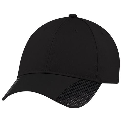Black/Black - 5989M Polycotton / Faux Carbon Fibre Cap | Hatsandcaps.ca