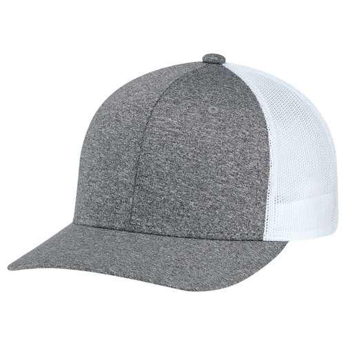 Charcoal/White - 8H018M 6 Panel Constructed Pro-Round (Mesh Back) Cap | Hatsandcaps.ca