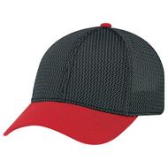 Red/Black/Charcoal - AC5016 6 Panel Constructed Contour (A-Class, A-Flex) Cap   Hatsandcaps.ca
