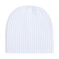 White - 1K200L Acrylic Toque with elasticized Ponytail opening | Hatsandcaps.ca
