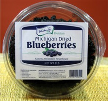 Our 2 pound Michigan Dried Blueberries are made using only the finest blueberries from True Blue Farms. They are gluten free and do not contain artificial colors or preservatives. Packaged in clear plastic food safe tubs with re-closable lids.