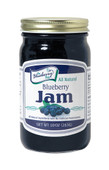 """Jam"" packed with blueberries, our 10 ounce Blueberry Jam is bursting with flavor. Packaged in glass jar with re-closable lid."