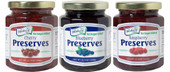 Our kettle-cooked, No Sugar Added Preserves are packed with whole fruit making them thick, rich, and simply delightful. This three pack can be ordered in any combination of three jars. Available flavors are blueberry, cherry, and raspberry. Each glass jar contains 11.5 ounces of product, and have re-closable lids.