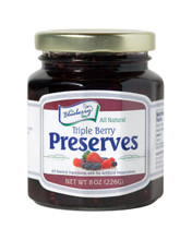 Imagine rich, thick preserves, loaded with our berry favorites: sun-ripened Blueberries, Red Raspberries and Strawberries. Our 8 ounce Triple Berry Preserves are packaged in a glass jar with a re-closable lid.
