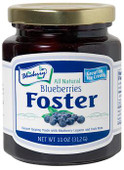 Our 11 ounce Blueberries Foster is packaged in a glass jar with a re-closable lid.