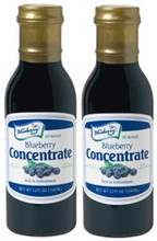Our Blueberry Concentrate 2-Pack gives you two bottles of our 12 fluid ounce Blueberry Concentrate at great savings! It takes about 10 pounds of True Blue Farms Blueberries to make one bottle of blueberry concentrate.  Concentrate is packaged in glass bottles, with re-closable lid and tamper evident seal.