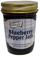 This 10oz Glass Jar of Blueberry Pepper Jam brings you the sweet flavor of blueberries and the heat of jalapeno peppers. Tastes great as a glaze on chicken or as an appetizer with cream cheese and crackers.