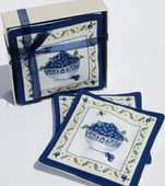 Each mug bag features a lovely design of a bowl of blueberries. They are filled with real spices. Just place your hot mug on them to release the fresh aroma while protecting your table surface. Each gift set contains four mug mats that are approximately 4.75 inches by 4.75 inches.