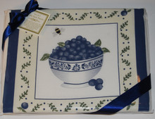 Made in the USA, these decorative towels feature a lovely design of a bowl of blueberries. These towels are 100% pure cotton, very absorbent, and suitable for everyday use. They come packaged in cellophane bag tied with a blue ribbon. Set includes two 27 inch by 30 inch towels. Machine washable.