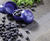 "Blueberries To-Go holds just the right amount of berries for a tasty and delicious snack. Each sturdy blueberry container protects the delicate fruit while in your gym bag, backpack, purse, or lunch bag. An interior mini-straining disc keeps the fruit from getting soggy. Tight interlocking seal keeps everything fresh. 2.75"" round. Dishwasher safe. BPA free."