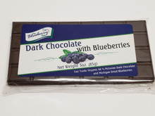 Rich dark chocolate and sweet dried blueberries are perfectly balanced in this all new chocolate bar! Each candy bar is packaged in a clear bag with re-closable flap. At 3 ounces each, these candy bars are the perfect size for sharing.