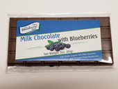 Smooth milk chocolate is combined with sweet dried blueberries in this all new chocolate bar! Each candy bar is packaged in a clear bag with re-closable flap. At 3 ounces each, these candy bars are the perfect size for sharing.