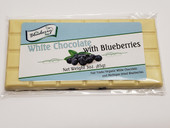 3 ounce bar with white chocolate and blueberries. Packaged in a clear bag with re-closable flap.