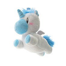 "Unicorn Backpack Buddy – Blueberry is a scented stuffed plush that comes attached with a backpack clip. Each Backpack Buddy is filled with super soft stuffing and gourmet scented beads. Scent lasts approximately 2 years.  Dimensions: 4.5"" × 3"" × 0.7"""