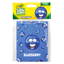 Crayola Silly Scents Blueberry Note Pad.      Gourmet scented cover.     250 scratch guarantee     4.53″ height x 3.54″ width.     © 2018 Crayola