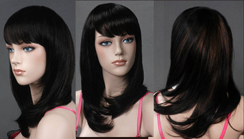 Wig 001: Deepest Brunette with Brunette Highlights - Mid-chest length