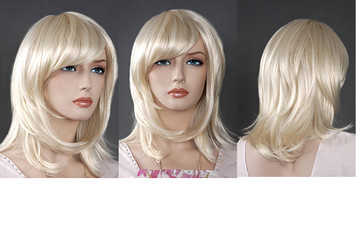 Wig 085: Flaxen Blond - shoulder length