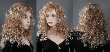 Wig 030: Strawberry Blond with Blond highlights - mid-back length