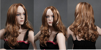 Wig 048: Red with Blond highlights - mid-back or bra strap length