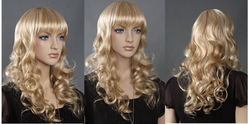 Wig 089: Golden Blond with Blond highlights - mid-back length