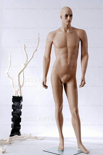 In this full body view photo, naked mannequin Alex, stands with his left leg slighly forward along with his left arm while his right remains back - both at about hip level.  Mannequin Alex can be displayed with or without a wig / hairpiece.  Glass stand and support hardware included.