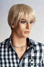 In this closeup, mannequin Alex is wearing a short blond wig / hairpiece with a open plaid shirt and chain.  Mannequin Alex can be displayed with or without a wig / hairpiece.  Glass stand and support hardware included.