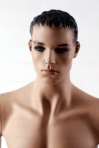 In this closeup shot, mannequin Mike is shirtless. Mannequin Mike can be displayed with or without a wig / hairpiece.  Glass stand and support hardware included.