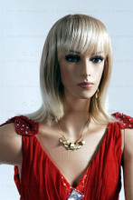 In this closeup, mannequin Emily is wearing a shoulder lenght blong wig along with a long, formal red dress. With pierced ears, mannequin Emily can display earrings and jewelry.  Pedestal included.