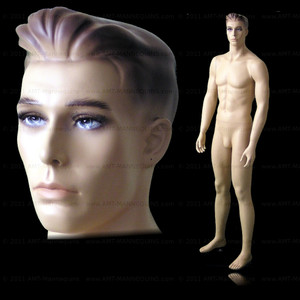 In this full body view photo, naked mannequin John, stands with his legs even with his arms straight at his sides.  Mannequin Mark can be displayed with or without a wig / hairpiece.  Glass stand and support hardware included.