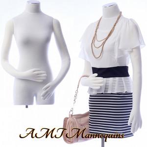 Dress Form FLEXIBLE Torso White - Female (flat metal base)