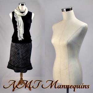 Dress Form Torso Linen - Female (wood base)