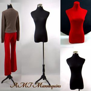 Dress Form Torso Black With Hips - Female (wood base)